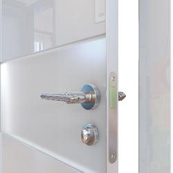 Межкомнатная дверь Дверная Линия ДО-501 Белый глянец стекло белое матовое (снег)