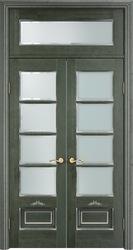 Межкомнатная дверь Итальянская легенда Ольха 44. ОЛ 44 - Зеленый+патина серебро  микрана - стекло матовое, фацет, фрамуга
