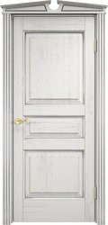 Межкомнатная дверь Итальянская легенда Дуб Д5 Белый грунт+патина серебро микрано