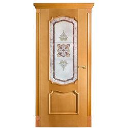 Межкомнатная дверь Оникс Венеция со стеклом Витраж
