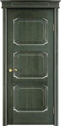 Межкомнатная дверь Итальянская легенда Ольха 7.3 Зеленый+патина серебро микрано