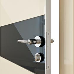 Межкомнатная дверь Дверная Линия ДО 501 ваниль, стекло черное