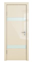 Межкомнатная дверь Дверная Линия ДО 502 ваниль глянец, стекло белое