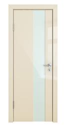 Межкомнатная дверь Дверная Линия ДО 504 ваниль глянец стекло белое