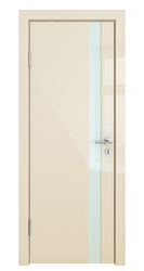 Межкомнатная дверь Дверная Линия ДО 507 ваниль глянец, стекло белое