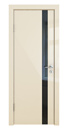 Межкомнатная дверь Дверная Линия ДО 507 ваниль глянец, стекло черное