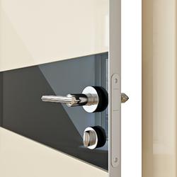 Межкомнатная дверь Дверная Линия ДО 509 ваниль глянец, стекло черное