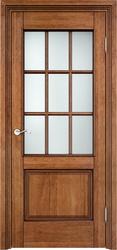 Дверь Д 117/2 Орех 10% патина, Решетка стекло сатинат