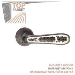 Ручка дверная на пластине Alivio Черненое серебро/эмаль