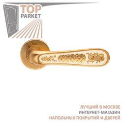 Ручка дверная на пластине Alivio Матовое золото/эмаль