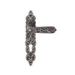 Ручка дверная на пластине Arabesco Черненое серебро