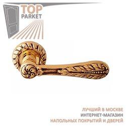 Ручка дверная на розетке Agata Золото 24 К + Коричневый