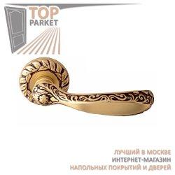 Ручка дверная на розетке Ambra Старинная латунь + Коричневый