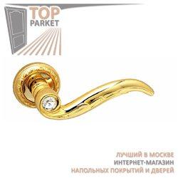 Ручка дверная на розетке Como Золото 24 К + Swarovski