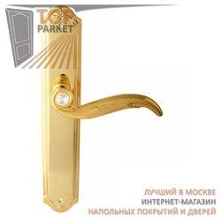 Ручка дверная на пластине Como Золото 24 К + Swarovski
