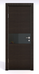 Межкомнатная дверь Дверная Линия ДО 501  Венге горизонтальный, стекло черное