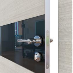 Межкомнатная дверь Дверная Линия ДО 501  Ива светлая,стекло черное