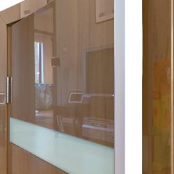 Межкомнатная дверь Дверная Линия ДО-502 Анегри тёмный стекло белое матовое