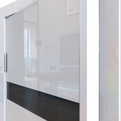 Межкомнатная дверь Дверная Линия ДО-502 Белый глянец стекло чёрное