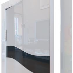 Межкомнатная дверь Дверная Линия ДО-503 Белый глянец стекло черное