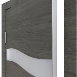Межкомнатная дверь Дверная Линия ДО-503 Ольха темная стекло белое матовое (снег)