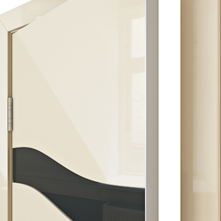 Межкомнатная дверь Дверная Линия ДО 503 Ваниль глянец стекло черное