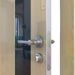 Межкомнатная дверь Дверная Линия ДО-504 Анегри светлый стекло чёрное
