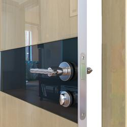 Межкомнатная дверь Дверная Линия ДО-509 Анегри светлый стекло чёрное