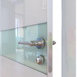 Межкомнатная дверь Дверная Линия ДО-509 Белый глянец стекло белое матовое