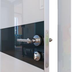 Межкомнатная дверь Дверная Линия ДО-509 Белый глянец стекло черное