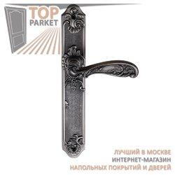 Ручка дверная на пластине Flor Черненое серебро