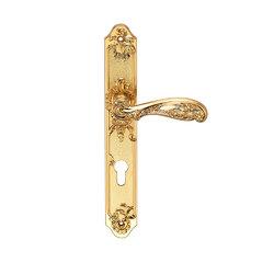 Ручка дверная на пластине Flor Матовое золото