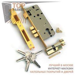 Замок врезной с защелкой L01-45-70S TR B латунь, ключ-вертушка, перфорированный ключ