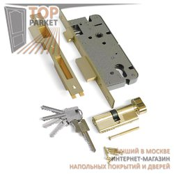 Замок врезной с защелкой L03-45-70 TR B латунь, ключ-вертушка, английский ключ