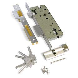 Замок врезной с защелкой L03-45-70 TR N хром, ключ-вертушка, английский ключ