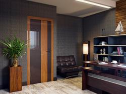 Межкомнатная дверь Дверная Линия ДО 504 Шоколад глянец стекло бамбук