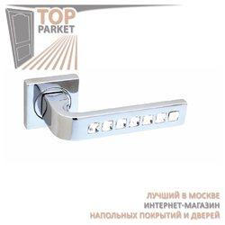 Ручка дверная на розетке Monza Cube Хром полированный + Swarovski