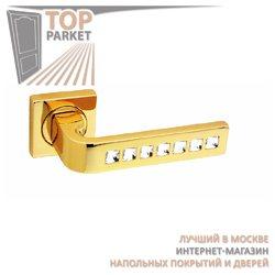 Ручка дверная на розетке Monza Cube Золото 24 К + Swarovski