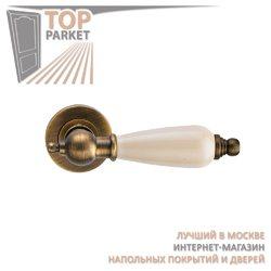 Ручка дверная на пластине Redondo Античный кофе/керамика слоновая кость