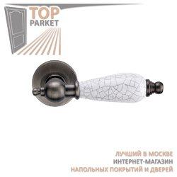 Ручка дверная на пластине Redondo Черненое серебро/керамика кракелюр