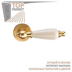 Ручка дверная на пластине Redondo Матовое золото/керамика слоновая кость