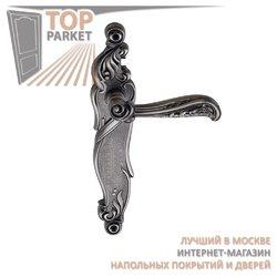 Ручка дверная на пластине Rizo Черненое серебро