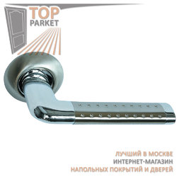 Ручка дверная на круглой накладке S010 47HHP белый никель (перфорация)