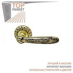 Ручка дверная на розетке Sapphire Старинная латунь + Коричневый