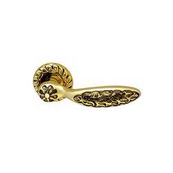 Ручка дверная на розетке Shamira Золото 24 К + Коричневый