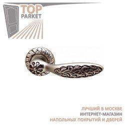 Ручка дверная на розетке Shamira Старинное серебро мат. + Коричневый