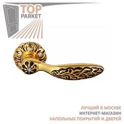 Ручка дверная на розетке Shamira Золото 24 К + Коричневый + S + 6