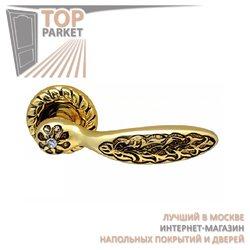 Ручка дверная на розетке Shamira Золото 24 К + Коричневый + S