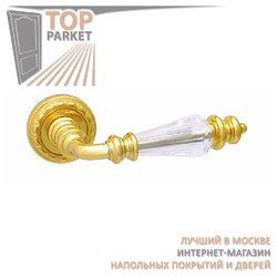 Ручка дверная на розетке Siena Золото 24 К + Swarovski