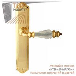 Ручка дверная на пластине Siena Золото 24 К + Swarovski
